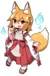 1girl :d animal_ear_fluff animal_ears bangs blonde_hair blue_fire blush brown_eyes brown_footwear colored_stripes commentary_request drop_shadow eyebrows_visible_through_hair fang fire flower fox_ears fox_girl fox_shadow_puppet fox_tail full_body hair_between_eyes hair_flower hair_ornament hakama hand_up highres hitodama japanese_clothes kimono long_sleeves looking_at_viewer naga_u open_mouth red_flower red_hakama ribbon-trimmed_sleeves ribbon_trim senko_(sewayaki_kitsune_no_senko-san) sewayaki_kitsune_no_senko-san smile socks solo striped tail white_background white_kimono white_legwear wide_sleeves zouri