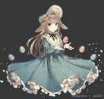 1girl absurdres animal_ears anotherxalice bangs blue_dress blue_eyes blunt_bangs bonnet brown_hair copyright_name dress easter easter_egg egg floppy_ears floral_print food_themed_hair_ornament frills full_body grey_background hair_ornament highres lolita_fashion long_dress long_hair long_sleeves looking_at_viewer neck_ribbon nyasunyadoora official_art parted_lips petticoat rabbit_ears ribbon simple_background solo strawberry_hair_ornament very_long_hair