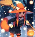 1girl artist_name black_bow black_skirt blush bow broom brown_eyes dav-19 deviantart_username fox_tail freckles halloween hat holding holding_broom long_hair long_sleeves mouth_hold multicolored multicolored_clothes multicolored_hat orange_hair orange_headwear orange_legwear original pantyhose parted_lips patricia_(dav-19) skirt smile solo striped striped_legwear tail tumblr_username vertical-striped_legwear vertical_stripes watermark web_address white_headwear witch_hat