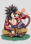1boy 1girl abs bandana black_hair blush closed_eyes commentary_request dragon_ball dragon_ball_gt fur grandfather_and_granddaughter grey_background hand_on_another's_head highres hug indian_style mattari_illust one_eye_closed pan_(dragon_ball) pectorals simple_background sitting smile son_gokuu spiky_hair super_saiyan_4 tail wristband yellow_eyes
