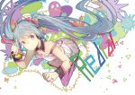 1girl aqua_eyes aqua_hair bow cable chinese_commentary collarbone commentary corded_phone detached_collar dress floating full_body hair_bow hatsune_miku headphones hhhhhoi holding holding_phone leaning_forward long_hair phone purple_legwear redial_(vocaloid) smile solo song_name spaghetti_strap thigh-highs triangle twintails very_long_hair vocaloid white_dress wrist_cuffs