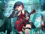 1girl absurdres afterglow_(bang_dream!) bang_dream! bangs bare_shoulders belt black_belt black_bra black_hair bob_cut bra commentary electric_guitar eyebrows_visible_through_hair guitar happy highres holding holding_microphone instrument jacket lamp long_sleeves looking_at_viewer microphone microphone_stand mitake_ran multicolored_hair munseonghwa red_eyes red_shirt redhead shirt short_hair solo streaked_hair underwear