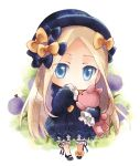 1girl abigail_williams_(fate/grand_order) bangs black_bow black_dress black_footwear black_headwear blonde_hair bloomers blue_eyes bow bug butterfly chibi closed_mouth commentary_request dress fate/grand_order fate_(series) flower forehead full_body hair_bow hand_up hat highres insect ishika long_hair long_sleeves looking_at_viewer object_hug orange_bow parted_bangs purple_flower shoes sleeves_past_fingers sleeves_past_wrists solo standing stuffed_animal stuffed_toy teddy_bear underwear very_long_hair white_bloomers