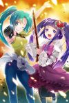 2girls :d aqua_hair arm_up bangs black_legwear blue_eyes blue_pants blunt_bangs choker clothes_around_waist collarbone floating_hair flower furudo_erika grin gun hair_flower hair_ornament hair_ribbon higurashi_no_naku_koro_ni holding holding_gun holding_weapon layered_sleeves leg_up lolita_fashion long_hair long_sleeves looking_at_viewer mary_janes multiple_girls one_eye_closed open_mouth pants pantyhose pink_neckwear ponytail purple_hair red_flower ribbon rifle shiny shiny_hair shirt shoes short_sleeves smile sonozaki_mion standing standing_on_one_leg sweater sweater_around_waist twintails umineko_no_naku_koro_ni very_long_hair weapon white_footwear white_ribbon white_sweater yellow_shirt yukian