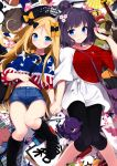 2girls abigail_williams_(fate/grand_order) american_flag american_flag_print bag bangs baseball black_bow black_footwear black_headwear black_pants blonde_hair blue_eyes blush boots bow breasts closed_mouth controller cup denim denim_shorts fan fate/grand_order fate_(series) fedora flag_print floral_print folding_fan food forehead game_controller hair_bow hair_bun hat highres holding_hands katsushika_hokusai_(fate/grand_order) knee_boots long_hair long_sleeves looking_at_viewer lying multiple_girls navel nintendo nintendo_switch on_back orange_bow pants parted_bangs pikachu pokemon pokemon_(creature) purple_hair red_shirt sasahara_wakaba shirt short_hair short_shorts shorts shoulder_bag shuriken smile stuffed_animal stuffed_toy sushi swept_bangs teddy_bear thighs tokitarou_(fate/grand_order) white_shirt