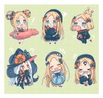 ! >_< +++ +_+ 1girl :d :o ? ^_^ abigail_williams_(fate/grand_order) bangs bikini black_bikini black_bow black_dress black_headwear black_jacket black_legwear blonde_hair blue_dress blue_eyes blush_stickers bow bubble_blowing bug butterfly chewing_gum chibi closed_eyes collared_dress commentary_request crossed_bandaids double_bun dress eating emerald_float fate/grand_order fate_(series) food hair_bow hat highres holding holding_food innertube insect jacket long_hair long_sleeves multiple_bows multiple_hair_bows multiple_hat_bows multiple_views object_hug open_mouth orange_bow parted_bangs parted_lips polka_dot polka_dot_bow red_eyes revealing_clothes sandwich sharp_teeth sleeves_past_fingers sleeves_past_wrists smile sofra squiggle star star_print stuffed_animal stuffed_toy suction_cups swimsuit tears teddy_bear teeth tentacles thigh-highs very_long_hair white_hair xd