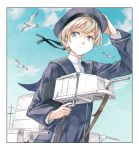 1girl bird blue_eyes blue_sky clothes_writing commentary_request dress from_below hat hiro_(chumo) holding_turret kantai_collection looking_to_the_side machinery sailor_collar sailor_dress sailor_hat short_hair silver_hair sky smile solo upper_body z1_leberecht_maass_(kantai_collection)