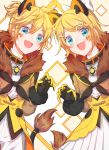 1boy 1girl :d ahoge animal_ears argyle argyle_background bangs blonde_hair blue_eyes bow brown_jacket circus claw_pose collar commentary diamond_(shape) facial_tattoo fang fur_trim gloves hair_bow hair_ornament hairclip highres jacket kagamine_len kagamine_rin light_blush looking_at_viewer magical_mirai_(vocaloid) medallion neck_ribbon open_mouth ponytail ribbon short_hair skin_fang smile tail tattoo tsukonin_p upper_body vocaloid white_bow