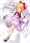 1girl :d aka_tawashi bangs black_footwear blonde_hair blush bow bowtie breasts brown_vest commentary_request eyebrows_visible_through_hair feathered_wings full_body gengetsu hair_between_eyes hair_bow half_updo hand_up highres leg_up looking_at_viewer mary_janes medium_breasts open_mouth petticoat pink_skirt red_bow red_neckwear shirt shoes short_hair skirt smile socks solo sparkle touhou touhou_(pc-98) vest white_legwear white_shirt white_wings wings yellow_eyes