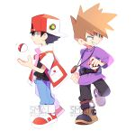2boys backwards_hat belt black_hair boots brown_hair chibi clenched_hand denim gen_1_pokemon grin hat highres jacket jeans jewelry male_focus multiple_boys ookido_green open_clothes open_jacket pants pendant poke_ball poke_ball_(generic) pokemon pokemon_(game) pokemon_rgby pokemon_trainer purple_sweater red_(pokemon) sami_briggs shoes short_hair smile sneakers spiky_hair sweater white_background