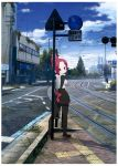 1girl blue_sky boots building commentary_request folded_ponytail full_body gloves high_heel_boots high_heels highres kemurikusa long_sleeves looking_at_viewer looking_back plant red_eyes redhead rin_(kemurikusa) road_sign ruins sat-c scarf short_hair sign sky solo tree vest white_scarf white_vest