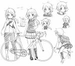 >_< 1girl :d arm_up bangs bicycle bike_shorts blush chibi closed_eyes closed_mouth collared_shirt drawstring eyebrows_visible_through_hair greyscale ground_vehicle hair_ornament hair_scrunchie hairclip hood hood_down hooded_jacket jacket kneehighs loafers long_hair low_ponytail monochrome multiple_views open_mouth original pants pigeon-toed pleated_skirt ponytail red_ribbon ribbon school_uniform scrunchie sekira_ame shirt shoes shorts shorts_under_skirt skirt smile striped striped_shirt sweater_vest swept_bangs white_background