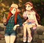 2girls against_wall antenna_hair arm_support artist_name blouse blush bow brown_eyes brown_hair bubble_tea closed_mouth clothes_around_waist collarbone commentary cup cutoffs dav-19 denim denim_shorts denim_skirt deviantart_username disney disposable_cup drawstring drinking_straw flannel foot_dangle forest freckles fur_hat gravity_falls green_eyes hair_over_one_eye hairband hat holding holding_cup hood hood_down hoodie long_sleeves looking_away mabel_pines multiple_girls nature no_socks on_wall orange_hair outdoors pink_footwear plaid shoes short_sleeves shorts sitting skirt smile sneakers standing stone_wall summer sunset sweater_around_waist sweatshirt tumblr_username wall watermark web_address wendy_corduroy white_blouse
