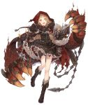 1girl :d belt blonde_hair book chain cloak corset cross-laced_footwear dress extra_arms eyebrows_visible_through_hair frills full_body hair_ribbon hood hood_up hooded_cloak ji_no little_red_riding_hood_(sinoalice) looking_at_viewer official_art open_mouth orange_eyes ribbon sinoalice sleeves_past_wrists smile solo spiked_boots thigh_strap torn_cloak torn_clothes transparent_background upper_teeth