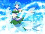 1girl adapted_costume ahoge air_bubble bangs bare_shoulders beads blue_eyes blue_hair breasts brooch bubble commentary cosplay crop_top cure_mermaid cure_mermaid_(cosplay) detached_sleeves drill_hair drill_locks eyebrows_visible_through_hair full_body go!_princess_precure green_skirt head_fins jewelry large_breasts light_rays looking_at_viewer mermaid midriff miniskirt monster_girl navel outstretched_arm precure shirosato short_hair skirt skirt_set smile solo stomach touhou underwater wakasagihime