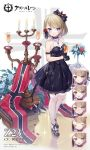 1girl :d anchor_symbol arm_garter azur_lane bangs bare_shoulders black_bow black_dress black_footwear black_gloves black_ribbon blue_eyes blush bow breasts brown_hair burning candelabra candle champagne_flute chestnut_mouth closed_eyes closed_mouth commentary_request copyright_name cup dress drink drinking_glass expressions eyebrows_visible_through_hair fire flower garter_straps gloves hair_bow hair_flower hair_ornament hair_ribbon half_gloves holding holding_cup hurricane_glass iron_cross kaede_(003591163) medium_breasts nose_blush official_art open_mouth parted_lips pleated_dress red_flower red_rose ribbon rose see-through shoes short_hair sleeveless sleeveless_dress smile sparkle standing sweat thigh-highs vase white_flower white_legwear white_rose z23_(azur_lane)
