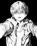 adam's_apple bangs black_background buttons collarbone commentary_request earrings eyebrows_visible_through_hair eyes_visible_through_hair greyscale hatching_(texture) highres jacket jewelry maki_keigo male_focus monochrome original parted_lips simple_background staring