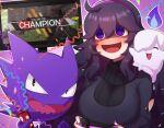 1girl :d @_@ ahoge apex_legends bangs black_dress blush breasts commentary_request dress gen_1_pokemon gen_5_pokemon hair_between_eyes hairband haunter hex_maniac_(pokemon) highres litwick long_hair nail_polish npc_trainer open_mouth outline party_popper playing_games pokemon pokemon_(creature) pokemon_(game) pokemon_xy purple_hair purple_hairband purple_nails shiny shiny_hair smile television ushiroki violet_eyes