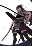 1girl akagi_(kantai_collection) apron arrow_in_mouth backlighting black_legwear bow_(weapon) brown_hair commentary_request deshima_shin flight_deck from_below full_moon hakama hakama_skirt holding holding_bow_(weapon) holding_sword holding_weapon japanese_clothes kantai_collection katana long_hair moon mouth_hold muneate night quiver red_hakama red_skirt skirt solo sword tasuki thigh-highs unsheathed weapon yellow_eyes