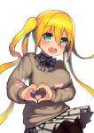 1girl :d absurdres bangs black_shirt blend_s blonde_hair blush bow breasts brown_legwear brown_sweater collared_shirt commentary_request eyebrows_visible_through_hair green_eyes hair_between_eyes hair_ornament heart heart_hair_ornament highres hinata_kaho korean_commentary large_breasts leonat long_hair long_sleeves looking_at_viewer open_mouth pantyhose plaid plaid_skirt pleated_skirt puffy_long_sleeves puffy_sleeves school_uniform shirt sidelocks simple_background skirt sleeves_past_wrists smile solo sparkling_eyes striped striped_bow sweater twintails very_long_hair white_background white_bow white_skirt