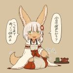 1other animal_ears blush brown_background cosplay cup eyebrows_visible_through_hair flower furry green_eyes hair_flower hair_ornament japanese_clothes kawasemi27 looking_at_viewer made_in_abyss miko nanachi_(made_in_abyss) open_mouth seiza senko_(sewayaki_kitsune_no_senko-san) senko_(sewayaki_kitsune_no_senko-san)_(cosplay) sewayaki_kitsune_no_senko-san short_hair simple_background sitting smile speech_bubble tail teapot translated white_hair