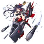 1girl azur_lane black_footwear black_gloves black_hair black_jacket black_leotard blush boots center_opening cross fingerless_gloves floating_hair gloves hat jacket leotard long_hair looking_at_viewer machinery navel official_art one_side_up open_clothes open_jacket peaked_cap red_eyes riding short_sleeves sidelocks smile solo stomach thigh-highs thigh_boots thighs torpedo transparent_background u-73_(azur_lane) v-shaped_eyebrows very_long_hair water_drop yano_mitsuki