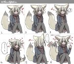 1girl animal_ear_fluff animal_ears artist_name blush bow bowtie brown_scarf commentary_request contemporary embarrassed extra_ears fennec_(kemono_friends) fox_ears fox_tail heart highres jacket kemono_friends long_sleeves looking_at_viewer looking_away looking_to_the_side multiple_views pleated_skirt scarf shio_butter_(obscurityonline) simple_background sitting skirt sleeve_tug smile tail tail_wagging thigh-highs twitter_username white_background