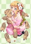 1girl 2019 :d animal bangs black_footwear blonde_hair blue_eyes blush boar braid checkered checkered_background chinese_zodiac crown_braid earrings eyebrows_visible_through_hair fingernails floral_print flower full_body green_background hair_flower hair_ornament highres holding holding_animal idolmaster idolmaster_cinderella_girls japanese_clothes jewelry kanzashi kimono long_hair long_sleeves looking_at_another nail_polish nigou obi obijime ootsuki_yui open_mouth pink_kimono pink_nails red_flower sandals sash sidelocks simple_background smile solo squatting tabi too_many wavy_hair white_flower white_legwear wide_sleeves year_of_the_pig zouri