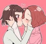 2girls bangs blunt_bangs blush braid brown_hair closed_eyes commentary_request crown_braid curly_hair do_m_kaeru hands_on_another's_face heart highres kiss long_sleeves multiple_girls nail_polish niijima_makoto okumura_haru persona persona_5 pink_background pink_nails pink_sweater profile red_eyes redhead ribbed_sweater shiny shiny_hair shirt short_hair short_over_long_sleeves short_sleeve_sweater short_sleeves simple_background sweater turtleneck turtleneck_sweater upper_body white_shirt wide-eyed yuri