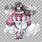 1girl alternate_costume bangs bare_shoulders black_choker black_hair blush_stickers bonnet bow braid checkered checkered_background choker commentary dress flat_chest full_body garter_straps gen_7_pokemon grey_background grey_eyes hair_between_eyes hair_bow hair_ornament hand_up heart heart_of_string jpeg_artifacts long_hair long_sleeves looking_at_another looking_to_the_side love_ball namako_plum off_shoulder official_style open_mouth pink_bow pink_dress pink_eyes pink_footwear pinky_out plum_(plum_no_bouken_note) plum_no_bouken_note poke_ball poke_ball_symbol pokemon pokemon_(creature) pyukumuku red_string shoes simple_background sleeves_past_fingers sleeves_past_wrists solo_focus standing string thigh-highs tied_hair twin_braids two-tone_background virtual_youtuber white_headwear white_legwear wide_sleeves