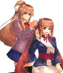 2girls absurdres brown_hair commentary cosplay costume_switch crossover doki_doki_literature_club girls_frontline green_eyes hair_ribbon highres kanoir long_hair m1903_springfield_(girls_frontline) military military_uniform miniskirt monika_(doki_doki_literature_club) multiple_girls pleated_skirt ponytail ribbon school_uniform skirt socks thigh-highs tying_hair uniform zettai_ryouiki