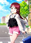 1girl belt belt_buckle black_shirt blue_sky buckle clouds day floating_hair hair_between_eyes hair_ornament hairclip highres holding ink_(pixiv25450915) lens_flare long_hair long_sleeves looking_at_viewer love_live! love_live!_sunshine!! outdoors pink_shorts redhead sakurauchi_riko shirt short_shorts shorts sky sleeveless sleeveless_shirt solo sparkle very_long_hair white_shirt yellow_eyes