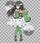 1girl alternate_color alternate_costume bangs bare_shoulders black_footwear black_hair bow braid breasts checkered checkered_background clenched_hand commentary detached_collar friend_ball frilled_skirt frills full_body gen_7_pokemon green_bow green_legwear green_shirt grey_background grey_eyes hair_between_eyes hair_bow hair_ornament hand_up jpeg_artifacts knees_together_feet_apart long_hair long_sleeves looking_to_the_side miniskirt namako_plum off_shoulder official_style open_mouth pantyhose pigeon-toed plum_(plum_no_bouken_note) plum_no_bouken_note poke_ball poke_ball_symbol pokemon pokemon_(creature) pyukumuku shiny_pokemon shirt shoes simple_background skirt sleeves_past_fingers sleeves_past_wrists small_breasts solo_focus standing tied_hair twin_braids two-tone_background virtual_youtuber white_skirt yellow_eyes