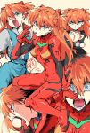 2019 akanbe angry black_dress blue_eyes bodysuit commentary_request dated dress fujita_nagisa hair_ornament highres monkey multicolored multicolored_bodysuit multicolored_clothes neon_genesis_evangelion number one_eye_closed open_mouth orange_hair pilot_suit plugsuit red_bodysuit school_uniform souryuu_asuka_langley stuffed_animal stuffed_monkey stuffed_toy teeth tongue tongue_out tsundere two_side_up