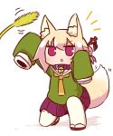 1girl animal_ears arm_up bangs bell bell_collar blonde_hair blush brown_collar brown_footwear cattail collar commentary_request eyebrows_visible_through_hair fox_ears fox_girl fox_tail full_body green_shirt hair_between_eyes hair_bun hair_ornament hand_up highres jingle_bell kemomimi-chan_(naga_u) long_hair long_sleeves looking_away looking_up naga_u notice_lines one_knee orange_neckwear original parted_lips plant pleated_skirt purple_skirt red_eyes ribbon-trimmed_sleeves ribbon_trim sailor_collar shirt sidelocks skirt sleeves_past_fingers sleeves_past_wrists solo tail thigh-highs v-shaped_eyebrows white_legwear white_sailor_collar