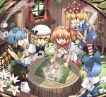 6+girls american_flag_dress american_flag_legwear antennae black_hair blonde_hair blue_dress blue_eyes blue_hair bow butterfly_wings chestnut_mouth cirno clownpiece commentary cup curtains dress drill_hair eternity_larva fairy fairy_wings flower frying_pan green_dress hair_bow hair_ornament hat houshiruri ice ice_wings jester_cap ladder leaf leaf_hair_ornament leaf_on_head luna_child map multiple_girls neck_ruff red_eyes star_sapphire sunny_milk tagme toaster touhou tree_stump white_dress white_headwear window wings wooden_wall yellow_eyes yellow_wings