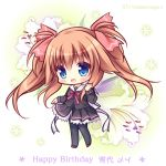 1girl :d bangs black_jacket black_legwear black_shirt black_skirt blue_eyes blush brown_footwear brown_hair character_name chibi commentary_request cross eyebrows_visible_through_hair floral_background flower full_body hair_between_eyes hair_ribbon hand_up happy_birthday hello_good-bye jacket long_hair long_sleeves neck_ribbon open_mouth pantyhose pink_ribbon pleated_skirt red_ribbon ribbon ryuuka_sane sailor_collar shirt shoes sidelocks skirt smile solo standing twintails twitter_username white_flower white_sailor_collar yukishiro_may