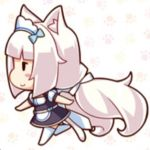 1girl animal_ears blush cat cat_ears chibi from_side full_body long_hair lowres nekopara running sayori simple_background skirt smile source_request tail thigh-highs tied_hair uniform vanilla_(sayori) waitress white_hair white_legwear