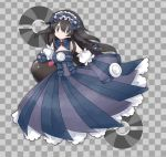 1girl alternate_costume bangs bare_shoulders black_hair bow braid checkered checkered_background closed_mouth commentary_request detached_collar detached_sleeves dress dusk_ball empty_eyes frilled_dress frills full_body gen_7_pokemon grey_background grey_eyes hair_between_eyes hair_bow hair_ornament jpeg_artifacts long_hair looking_to_the_side maid_headdress namako_plum official_style pink_eyes plum_(plum_no_bouken_note) plum_no_bouken_note poke_ball poke_ball_symbol pokemon pokemon_(anime) pokemon_(creature) pokemon_m04 purple_bow purple_dress pyukumuku simple_background solo_focus standing strapless strapless_dress tied_hair twin_braids two-tone_background virtual_youtuber