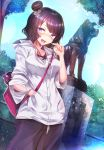 1girl :d bangs between_breasts blush breasts earphones earphones eyebrows_visible_through_hair fate/grand_order fate_(series) hair_bun hair_ornament hand_in_pocket heroic_spirit_traveling_outfit highres jacket katsushika_hokusai_(fate/grand_order) looking_at_viewer open_mouth outdoors purple_hair silly_(marinkomoe) smile statue strap_between_breasts tokitarou_(fate/grand_order) tree violet_eyes