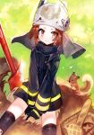 >:( animal animal_ears arknights baguette basket black_gloves black_jacket black_legwear blush bread brown_eyes brown_hair closed_mouth fire_axe firefighter food frown gloves helmet highres jacket looking_at_viewer moemoe3345 shaw_(arknights) sitting spread_legs squirrel squirrel_ears squirrel_girl squirrel_tail tail thigh-highs v-shaped_eyebrows visor white_headwear