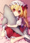 1girl :t a bangs bed blonde_hair bobby_socks bow commentary_request crystal dress eyebrows_visible_through_hair flandre_scarlet full_body hair_between_eyes hat hat_bow highres holding holding_stuffed_animal indoors kyouda_suzuka long_hair looking_at_viewer mob_cap no_shoes one_side_up petticoat puffy_short_sleeves puffy_sleeves red_bow red_dress red_eyes shark shirt short_sleeves sitting socks solo stuffed_animal stuffed_shark stuffed_toy touhou wariza white_headwear white_legwear white_shirt wings
