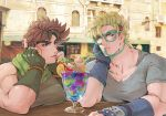 2boys bangle battle_tendency blonde_hair blue_eyes bracelet breast_rest breasts brown_hair caesar_anthonio_zeppeli cherry chin_rest crazy_straw cup drinking drinking_glass drinking_straw facial_mark feathers fingerless_gloves food fruit gelatin gloves green_eyes hair_feathers ice_cream ice_cream_float jewelry jojo_no_kimyou_na_bouken joseph_joestar_(young) male_focus mullet multiple_boys muscle outdoors pihoshii scarf shirt short_sleeves side-by-side sleeveless sleeveless_shirt table thick_eyebrows upper_body