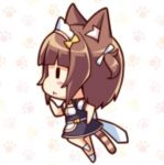 1girl animal_ears azuki_(sayori) blush brown_hair cat cat_ears chibi closed_mouth from_side lowres nekopara ponytail running sayori short_hair simple_background skirt source_request tail uniform waitress
