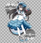 1girl alternate_costume arm_up bangs black_choker black_hair blue_bow blue_footwear blue_headwear blue_skirt bow braid checkered checkered_background choker commentary dive_ball earrings flat_chest frilled_skirt frills full_body gen_7_pokemon gloves grey_background grey_eyes hair_between_eyes hair_bow hair_ornament happy hat high_heels jewelry jpeg_artifacts long_hair miniskirt namako_plum official_style open_mouth pantyhose pigeon-toed pink_eyes plum_(plum_no_bouken_note) plum_no_bouken_note poke_ball poke_ball_symbol pokemon pokemon_(creature) pyukumuku shirt shoes short_sleeves simple_background skirt smile solo_focus standing tied_hair twin_braids two-tone_background virtual_youtuber white_gloves white_legwear white_shirt