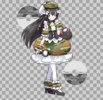 1girl alternate_costume bangs black_footwear black_hair bow braid camouflage camouflage_dress camouflage_hat checkered checkered_background commentary corset dress flat_chest frilled_dress frills full_body gen_7_pokemon green_headwear grey_background grey_eyes hair_between_eyes hair_bow hair_ornament hand_up hat high_heels jpeg_artifacts long_hair looking_to_the_side namako_plum official_style open_mouth pantyhose pink_eyes plum_(plum_no_bouken_note) plum_no_bouken_note poke_ball poke_ball_symbol pokemon pokemon_(creature) pyukumuku safari_ball shoes simple_background sleeveless sleeveless_dress solo_focus standing tied_hair twin_braids two-tone_background virtual_youtuber white_legwear