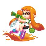1girl bangs bike_shorts black_shorts blunt_bangs domino_mask fangs full_body gun highres holding holding_gun holding_weapon ink inkling long_hair looking_at_viewer mask orange_eyes orange_hair pixelflag pointy_ears puddle purple_footwear shirt shoes shorts simple_background smile solo splatoon_(series) standing tentacle_hair weapon white_background