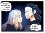 1boy 1girl aura beard black_dress black_hair blonde_hair daenerys_targaryen dark_aura dress english_text facial_hair game_of_thrones glaring highres hinghoi jon_snow scared speech_bubble violet_eyes yandere