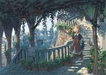 1girl ahoge bird brown_eyes brown_hair cityscape commentary_request dress fantasy lantern long_dress medium_hair original plant potted_plant scenery short_sleeves sign stairs walking watering_can wu_ba_pin