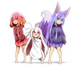 3girls :d absurdres ahoge akaneko_(idaten93) animal_ear_fluff animal_ears arm_up bangs barefoot blue_eyes blue_hoodie blush breasts brown_hoodie commentary_request drawstring eyebrows_visible_through_hair fang fox_ears fox_girl fox_tail gradient_hair hair_between_eyes hair_ornament heterochromia highres hood hood_down hoodie idaten93 long_sleeves multicolored_hair multiple_girls open_mouth orange_hair original oversized_clothes oversized_shirt pleated_skirt purple_hair purple_skirt red_eyes red_skirt redhead ruua_(idaten93) shadow shirt sidelocks skirt sleeves_past_fingers sleeves_past_wrists small_breasts smile standing tail tail_raised till_(idaten93) violet_eyes white_background white_shirt x_hair_ornament